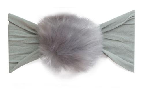 Baby Bling grey rabbit fur pom