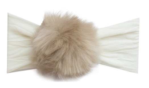 Baby Bling ivory/cream rabbit fur pom