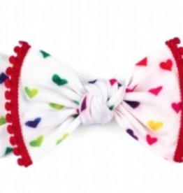 Baby Bling primary heart care bear trimmed printed knot