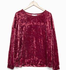 LivyLu oklahoma ruby red velvet sweatshirt