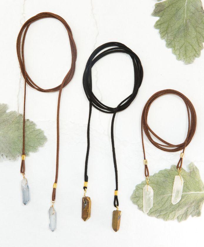 "camille necklace wrap 54"" black leather with gold quartz"