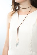"camille necklace wrap 54"" brown leather with clear quartz"