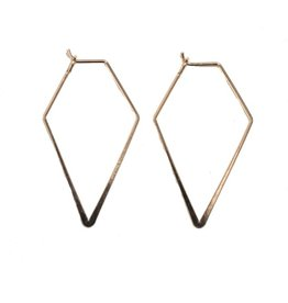 gold thin diamond shaped earrings - small