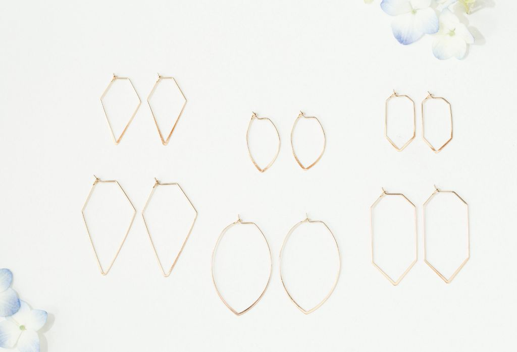 gold thin hexagon shaped earrings - small