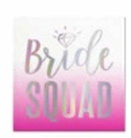 slant 20ct Bride Squad foil bev napkins