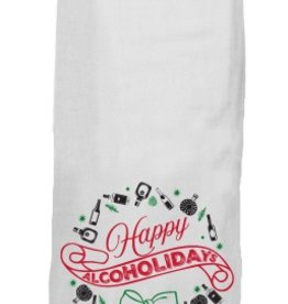 twisted wares happy alcoholidays tea towel