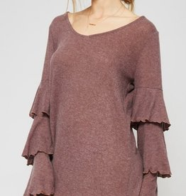 promesa cozy ruffle sleeve dress