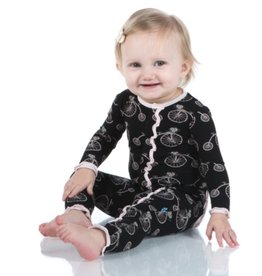 kickee pants girls midnight bikes print muffin ruffle coverall with snaps