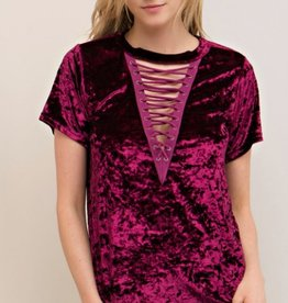 entro velvet lace up top