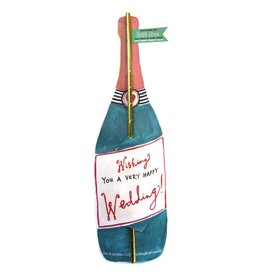 curly girl design happy wedding bottle straw card