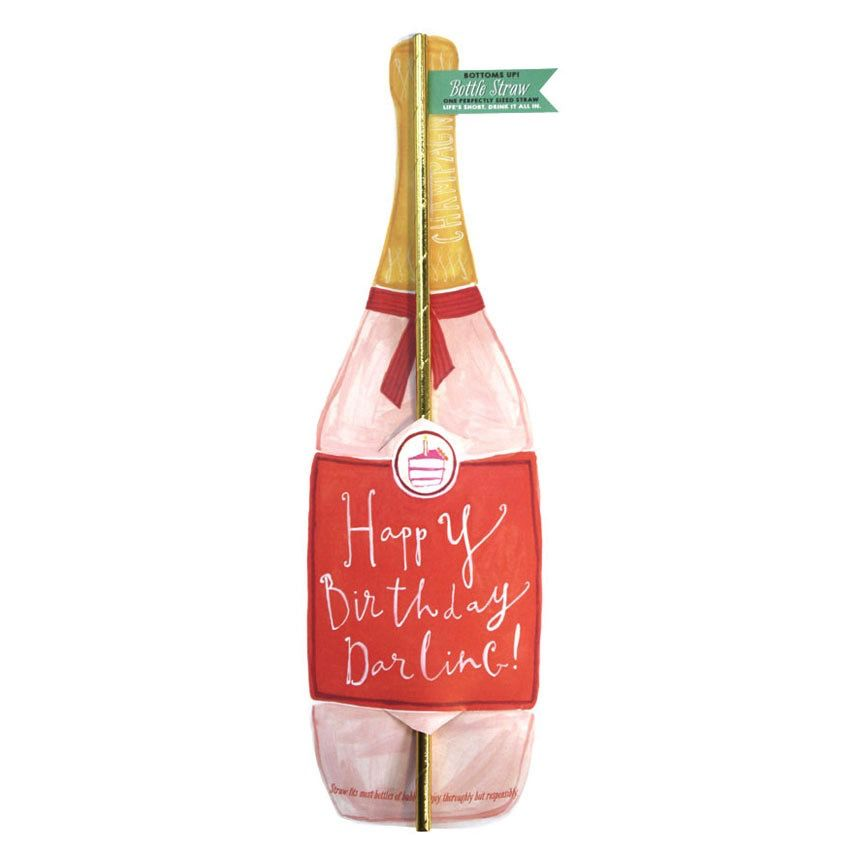 curly girl design happy birthday darling bottle straw card