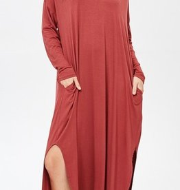 red lolly long sleeve jersey maxi