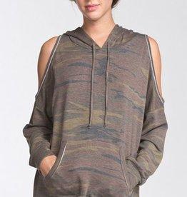 cherish camo cold shoulder hoodie