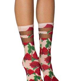 living royal red roses mesh socks