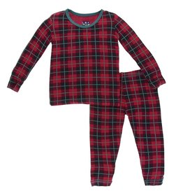 kickee pants print long sleeve pajama set in plaid