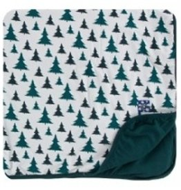 kickee pants print toddler blanket in natural christmas trees