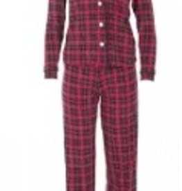 kickee pants print collared pajama set in plaid