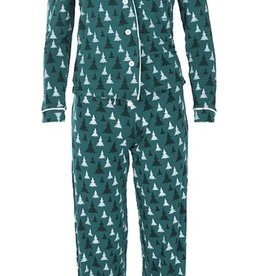 kickee pants print collared pajama set in cedar christmas trees