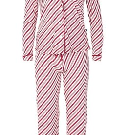 kickee pants print collared pajama set in crimson candy cane stripe