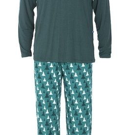 kickee pants mens long sleeve pajama set in cedar trees
