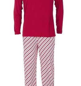 kickee pants mens long sleeve pajama set in crimson candy cane stripe