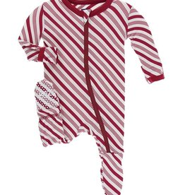 kickee pants print footie with zipper in crimson candy cane stripe