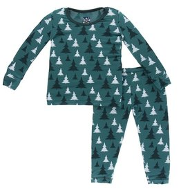 kickee pants print long sleeve pajama set in cedar christmas trees