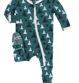 kickee pants print footie with zipper in cedar christmas trees