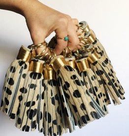 theprovidencestory large cheetah print tassel keychain