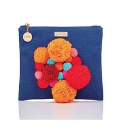 packed party pomalicious zip pouch - nvy with orange pom