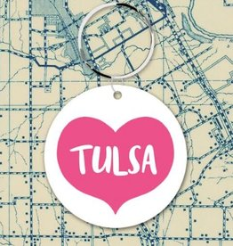 rock scissors paper tulsa big pink heart key fob