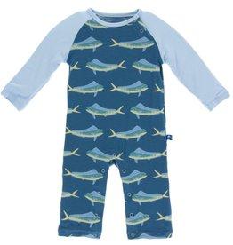kickee pants twilight dolphin fish print long sleeve raglan romper