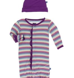 kickee pants girl perth stripe print ruffle layette gown converter and knot hat set