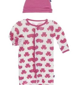 kickee pants natural wombat print ruffle layette gown converter and knot hat set