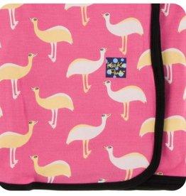 kickee pants flamingo emu print swaddling blanket