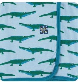 kickee pants pond crocodile swaddling blanket