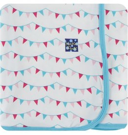 kickee pants flamingo party flags - swaddling blanket