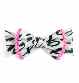 Baby Bling xoxo + neon pink pom trimmed printed knot