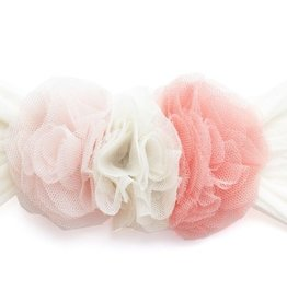 Baby Bling peach/ivory/coral triple mesh flower