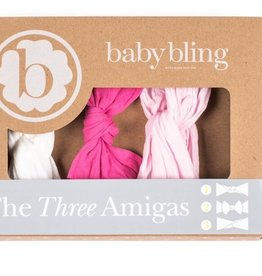 Baby Bling THREE AMIGAS: hot pink/white/pink