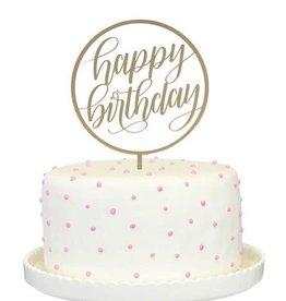 alexis mattox design happy birthday cake topper in gold mirror