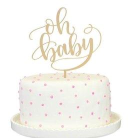 alexis mattox design oh baby gold mirror cake topper