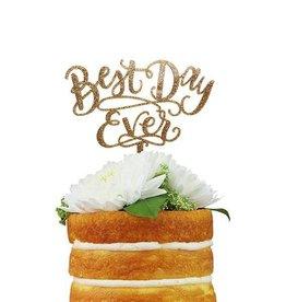 alexis mattox design best day ever gold glitter cake topper
