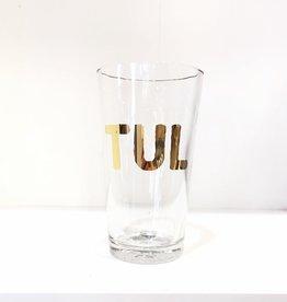 gold TUL pint glass