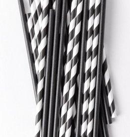 knot & bow black mix premium paper straws