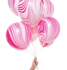 knot & bow pink marble party balloons (set of 8)