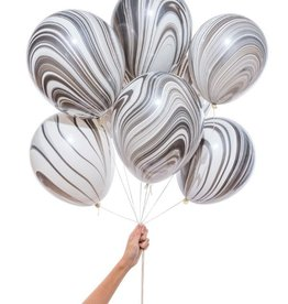 knot & bow black marble party balloons (set of 8)
