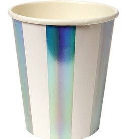 meri meri holographic silver stripe party cups (set of 8)