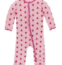 kickee pants lotus watermelon print muffin ruffle coverall with snaps