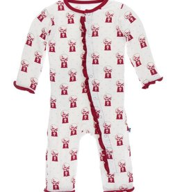 kickee pants natural gumball machine print muffin ruffle coverall with snaps